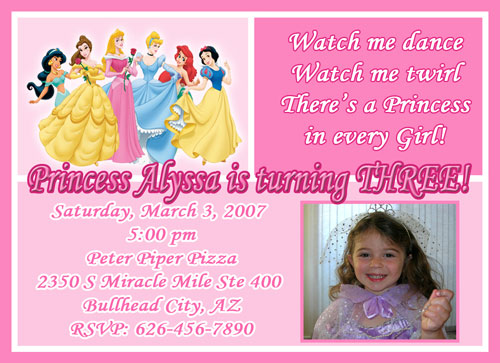 Disney Princess Birthday Invitations gangcraftnet