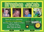 Custom Photo Birthday Invitation Card John Deere 2