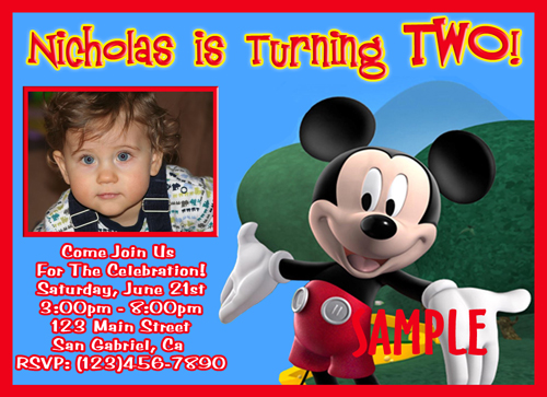 Custom Photo Birthday Invitations Curious George Mickey Mouse Minnie Clubhouse Wiggles<br>Mod Monkey