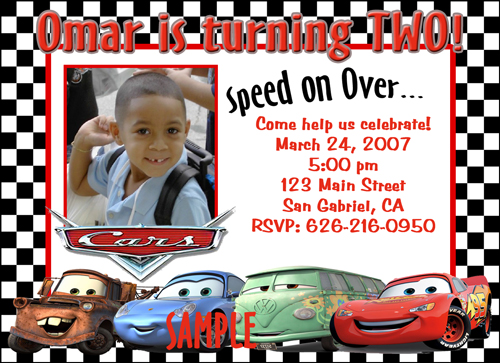 Custom Photo Birthday Invitations Disney Cars John Deere Power Rangers Wall E<br>Hot Wheels