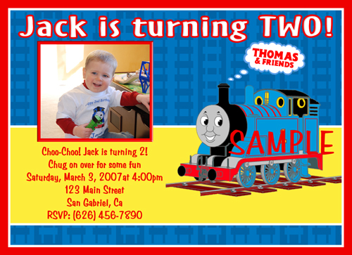Custom Photo Birthday Invitations Thomas the Train Tank Engine Toy Story 3 Madagascar