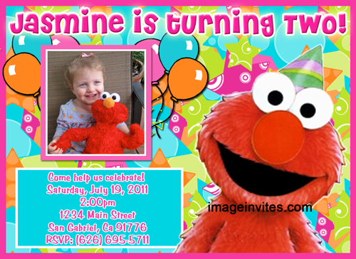 Custom Photo Birthday Party Invitation Elmo Sesame Street #22