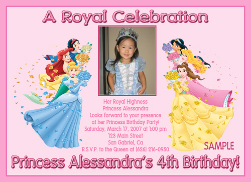 cyustom photo invitations disney princess, Birthday invitations