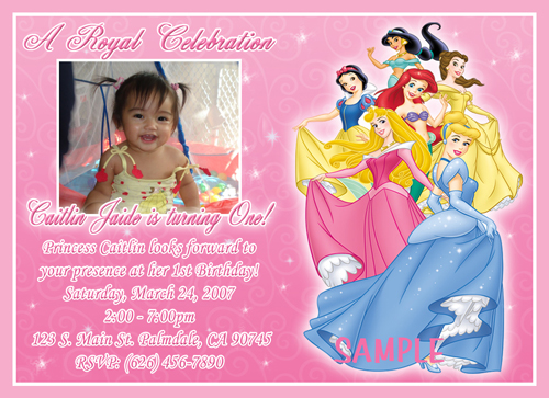 photo birthday party invitations disney princess and frog little, Birthday invitations