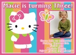 Custom Photo Birthday Party Invitations Hello Kitty 1