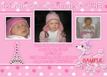 Custom Photo Birthday Party Invitations Invites Pink Poodle in Paris 1
