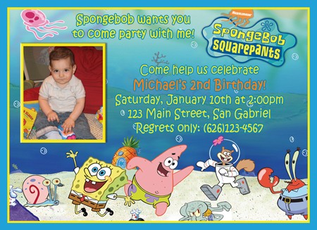 Spongebob Party Invitations gangcraftnet