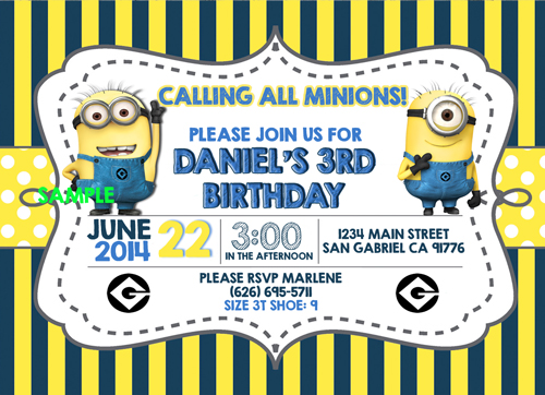despicable me birthday invitations – gangcraft, Birthday invitations