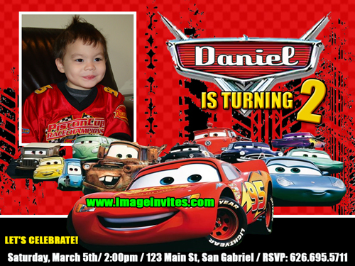 disney cars photo birthday party invitation invite card, Birthday invitations