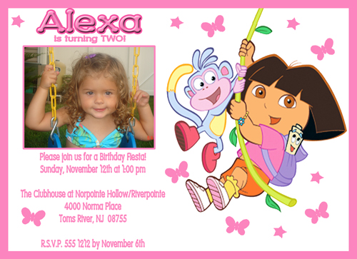 Dora the Explorer Birthday Photo Invitation #2