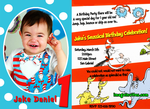 Dr Seuss Birthday Party Invitations – Custom 1st Birthday Invitations