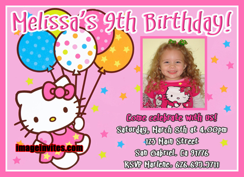 Hello Kitty Photo Birthday Invitation #5