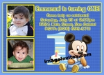 Mickey Mouse 1st Birthday Photo Invitation Disney Baby #3