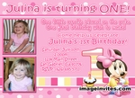Minnie Mouse 1st Birthday Photo Invitation Disney Baby #3
