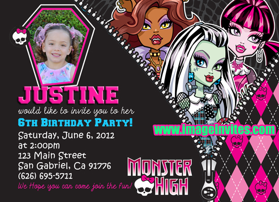 monster high photo birthday party invitations invites custom, Party invitations