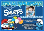 Personalized Custom Photo Birthday Party Invitations Smurfs #1
