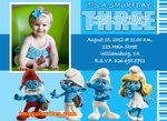Personalized Photo Birthday Party Invitation Custom Smurfs #2