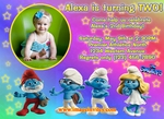 Personalized Photo Birthday Party Invitation Custom Smurfs #3