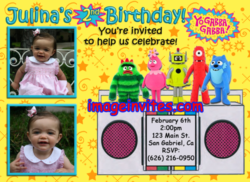 Personalized Photo Birthday Party Invitations Yo Gabba Gabba Smurfs