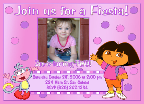Dora Birthday Invitations Wblqualcom - Birthday invitation nz