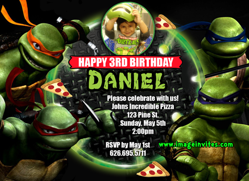 teenage mutant ninja turtles personalized photo birthday invitations, Birthday invitations