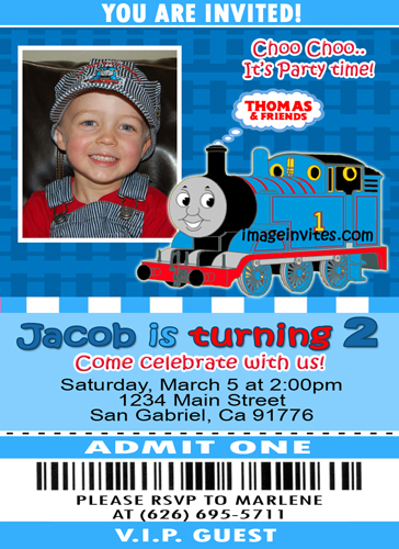 thomas the train ticket photo birthday invitation, Birthday invitations