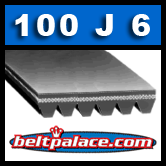100J6 Belt, Poly-V, 10 inch (254mm = Metric PJ254) 6 Rib Belt.