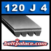 120J4 Belt, Poly-V Belts: Industrial Grade PJ305 Motor Belt. 12 inch (305mm) Length, 4 Ribs.