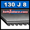 130J8 Poly-V Belt (Micro-V): Metric 8-PJ330 Motor Belt.