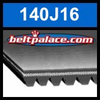 140J16 Poly-V Belt, Metric 16-PJ356 Motor Belt.
