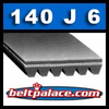 140J6 Belt. Poly-V Belts PJ356: 14 inch (356mm) J Section, 6 Rib Motor Belt. Delta Part Number 22-563