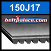 150J17 Poly-V Belt (Micro-V): Metric 17-PJ381 Motor Belt.