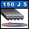 150J5 Poly-V Belt, Metric 5-PJ381 Motor Belt.
