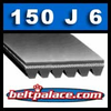 150J6 Belt. (PJ381 Metric belt). Poly-V Belts: J Section, 15 inch (381mm) 6 Rib Motor Belt