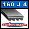 160J4 Poly-V Belt (Micro-V): Metric 4-PJ406 Motor Belt.