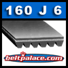 160J6 Belt. (PJ406) Poly-V Belts: J Section, 16 inch (406mm) 6 Rib Motor Belt