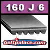 160J6 Poly-V Belt (Standard Duty), Metric 6-PJ406 Motor Belt.