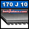 "170J10 Poly V Belt. 17"" Length (432mm), 10 Ribs. 170J-10 Drive Belt. Metric belt 10-PJ432."