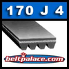 170J4 Poly-V Belt, Metric 4-PJ432 Motor Belt.