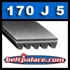 "170J5 Poly V Belt. 17"" Length (432mm), 5 Ribs. 170J-5 Drive Belt. Metric belt 5-PJ432."