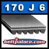 "170J6 Poly-V Belt: 17"" Length, 6 Ribs. Metric Belt 6PJ432."