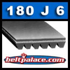 "180J6 Belt, Poly-V Belts: 18"" Length(457mm) Motor Drive Belt. Metric Belt 6-PJ457"