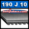 "190J10 Poly-V Belts: 19"" Length. 10 Ribs. Metric Belt 10-PJ483."