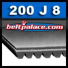 "200J8 Poly V Belt. 20"" Length OC, 8 Ribs. Metric Belt 8-PJ508. Motor Drive Belts."