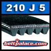 210J5 Poly-V Belt, Metric 5-PJ533 Motor Belt.