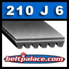 210J6 Industrial Grade Poly-V Belt. 21 inch (533mm) 6 Rib Belt. PJ533 Metric belt.