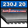 230J20 Belt, 230-J20 Poly-V Belts: J Section, PJ584 Motor Belt. 23 inch (584mm) Length, 20 Ribs.