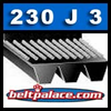230J3 Belt, 230-J3 Poly-V Belts (Micro-V): J Section, Metric PJ584 Motor Belt. 23� (584mm) Length, 3 Ribs.