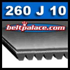 "260J10 Poly-V Belt: 26"" (660mm) Length, 10 rib motor belt (15/16"" Wide). Metric belt 10PJ660."