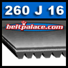 260J16 Poly-V Belts: J Section. 26 inch 16 rib motor belt